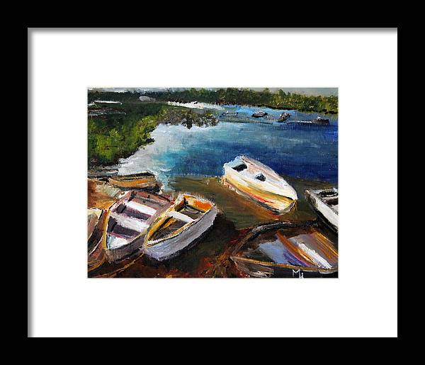 Old Row Boats Framed Print featuring the painting Old Folks Home by Michael Helfen