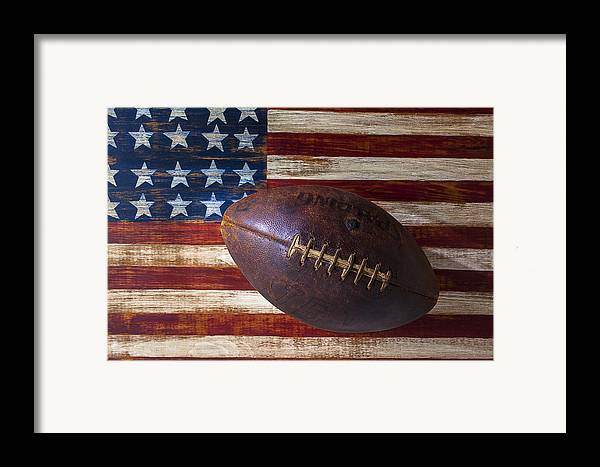 Football Framed Print featuring the photograph Old Football On American Flag by Garry Gay