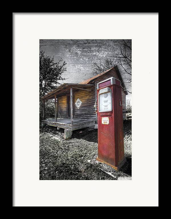 Appalachia Framed Print featuring the photograph Old Gas Pump by Debra and Dave Vanderlaan