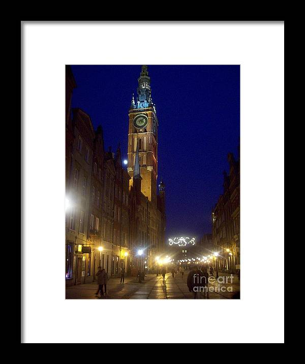Gdansk Framed Print featuring the photograph Old Gdansk November Nights by J Anthony Shuff