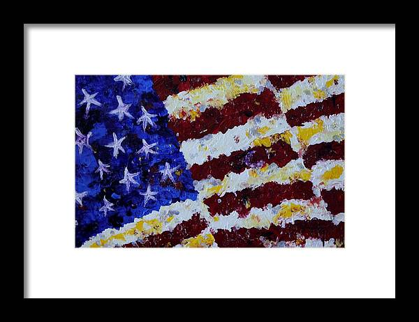 United States Framed Print featuring the painting Old Glory by Michael Greeley