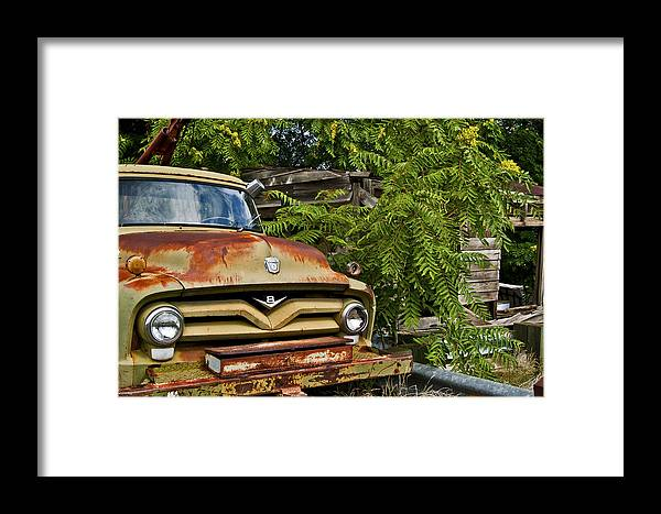 Old Green Truck Framed Print featuring the photograph Old Green Truck by Patrick Moore