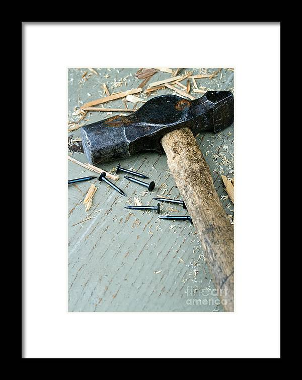 Hammer Framed Print featuring the photograph Old Hammer On Wooden Background by Anna-Mari West