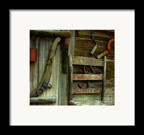 Ladderback Chair Framed Print featuring the photograph Old Hanging Ladderback by Julie Dant