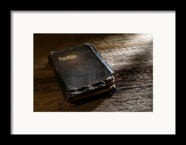 Holy Bible Framed Print featuring the photograph Old Holy Bible by Olivier Le Queinec