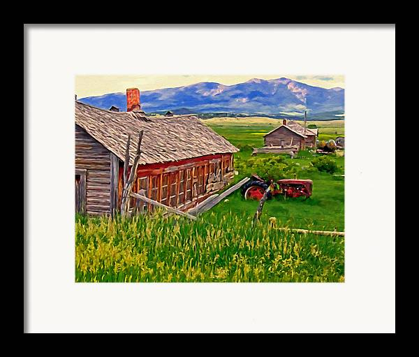 Montana Framed Print featuring the painting Old Homestead Near Townsend Montana by Michael Pickett