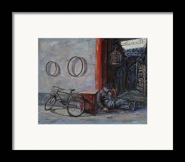 Ancient Framed Print featuring the painting Old Man And His Bike by Xueling Zou