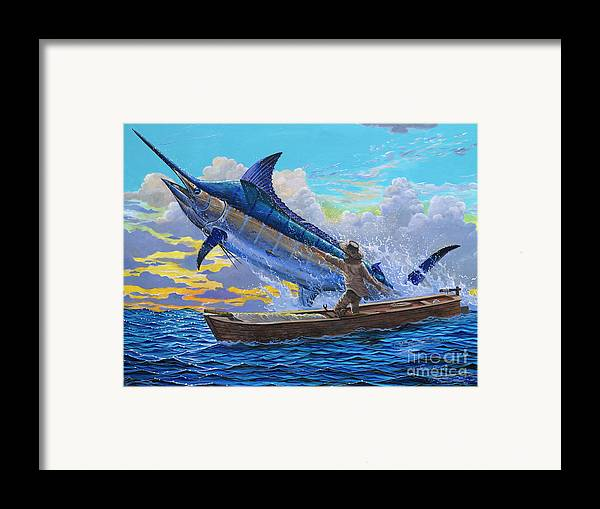 Marlin Framed Print featuring the painting Old Man's Battle Off00133 by Carey Chen