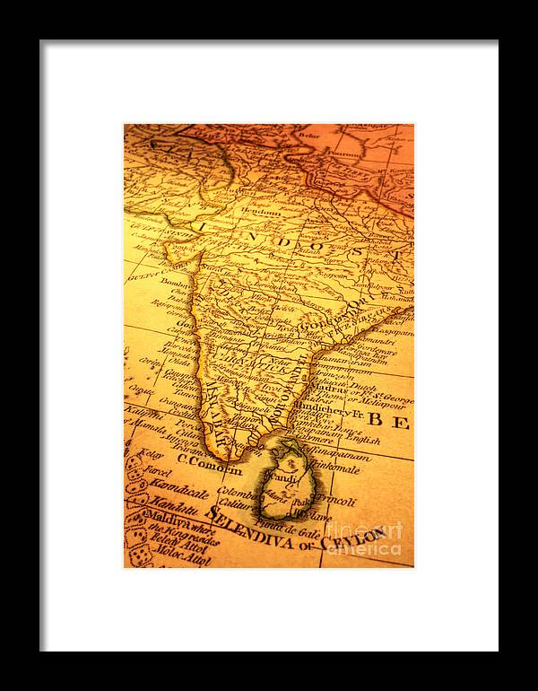 Old Map Of India And Sri Lanka Framed Print