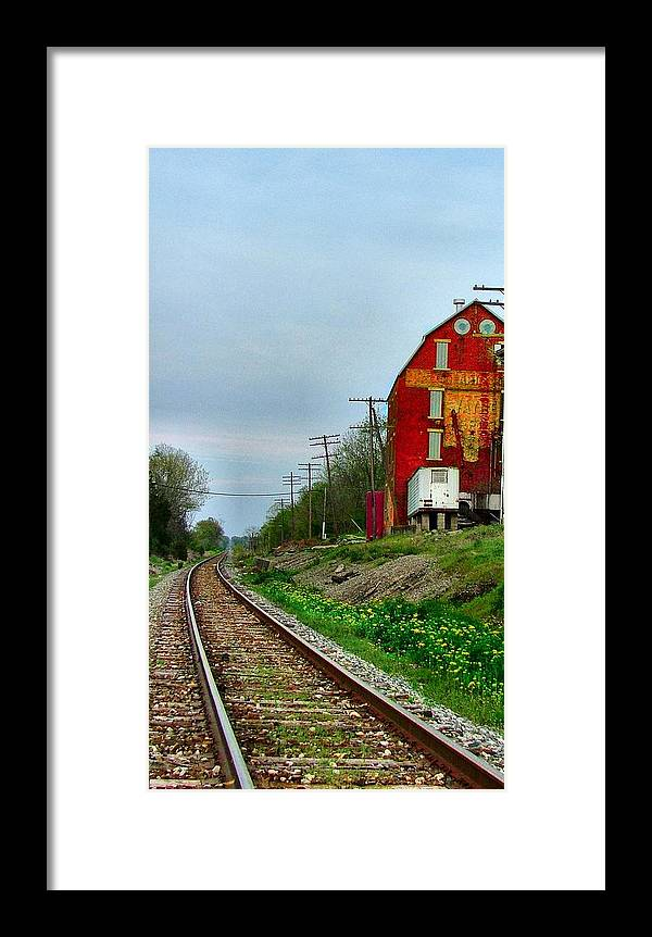 Old Feed Mills Framed Print featuring the photograph Old Mill On The Tracks by Julie Dant