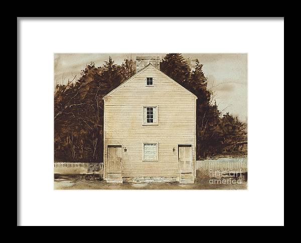A Simple Wooden Structure Located On The Grounds Of The Pleasant Hill Shaker Village Near Harrodsburg Framed Print featuring the painting Old Ministry's Shop by Monte Toon