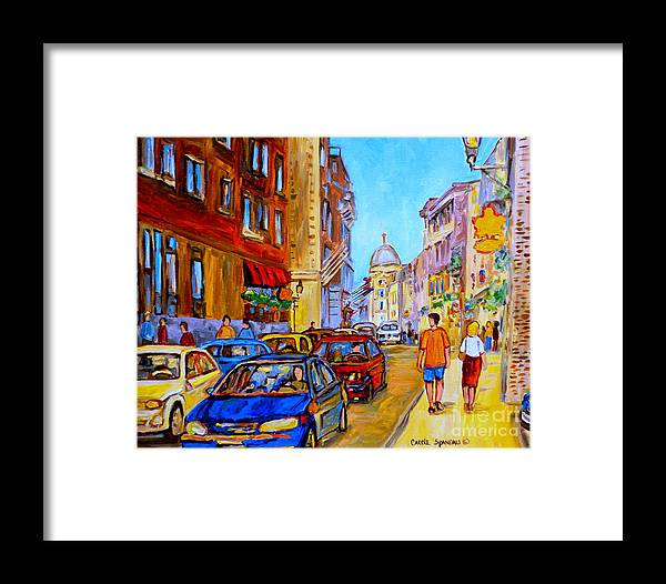 Old Montreal Street Scenes Framed Print featuring the painting Old Montreal by Carole Spandau
