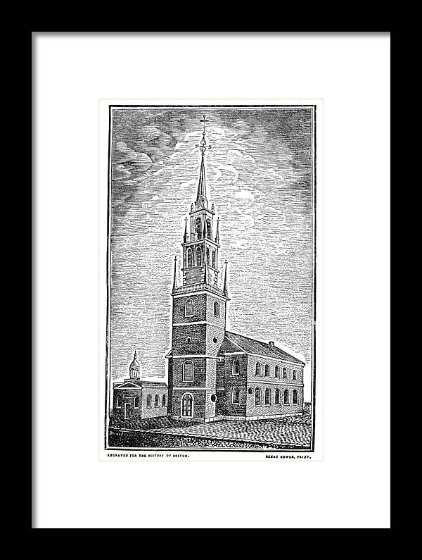 1775 Framed Print featuring the photograph Old North Church, 1775 by Granger