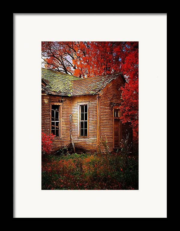 Schools Framed Print featuring the photograph Old One Room School House In Autumn by Julie Dant