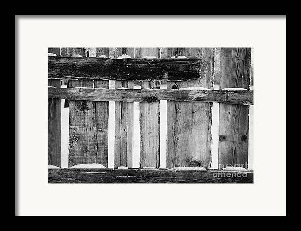Old Framed Print featuring the photograph old patched up wooden fence using old bits of wood in snow Forget by Joe Fox