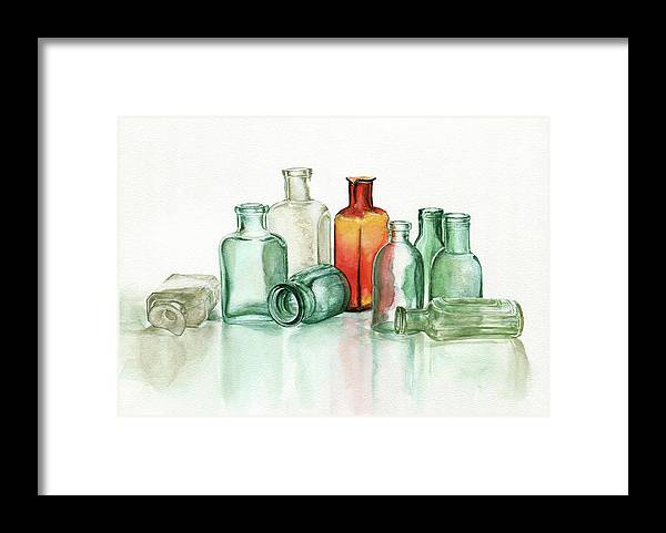 Material Framed Print featuring the photograph Old Pharmacys Glassware by Sergey Ryumin