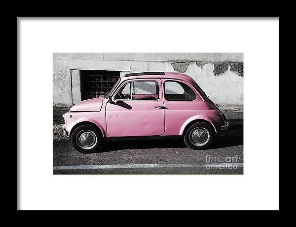 Old Pink Fiat 500 Framed Print