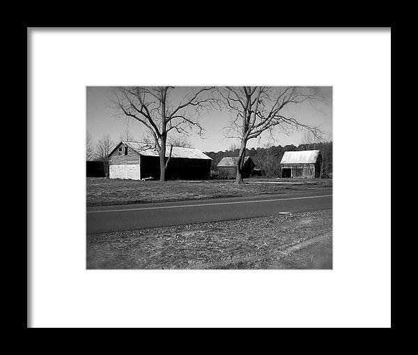 Framed Print featuring the photograph Old Red Barn In Black And White by Chris W Photography AKA Christian Wilson