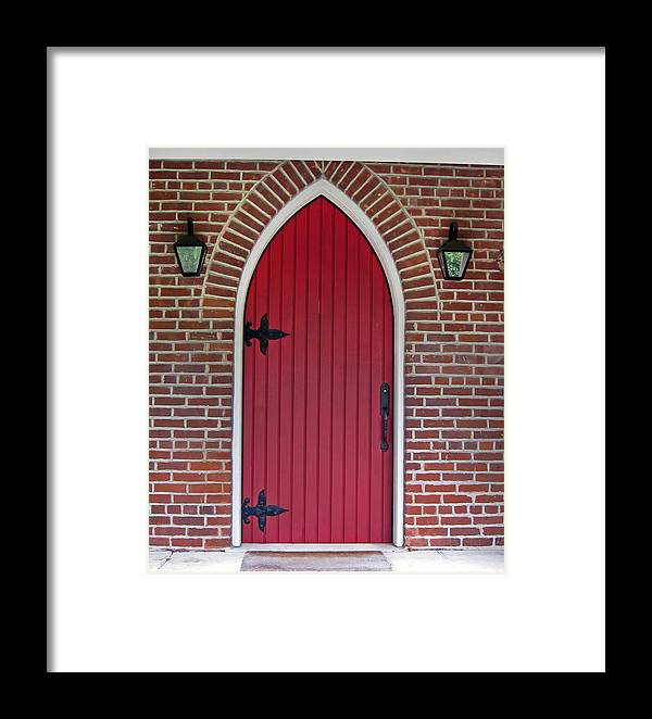 Red Door Framed Print featuring the photograph Old Red Door Bullet Shaped by Valerie Garner