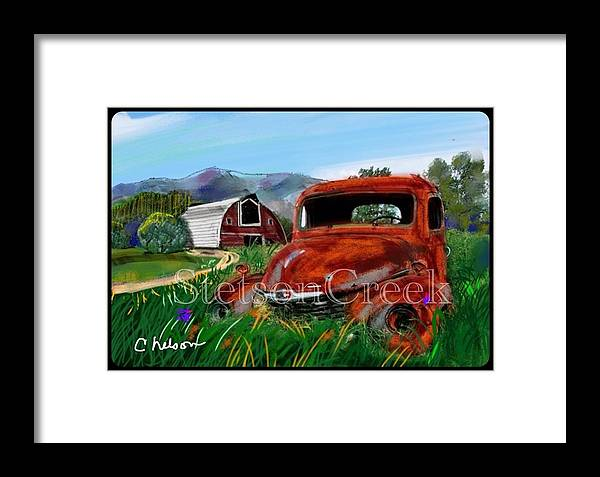 Old Red Truck Framed Print featuring the mixed media Old Red Truck by Craig Nelson