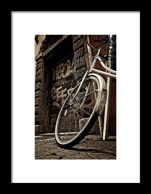 Bike Bicycle Graffiti Italy Rome Street Old Framed Print featuring the photograph Old Ride by Josh Eral