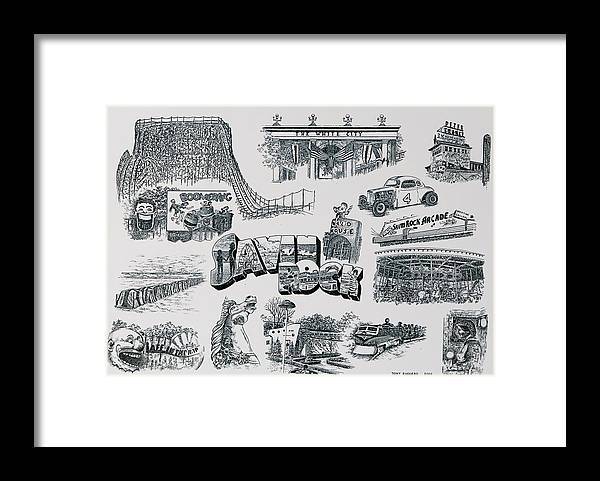 Savin Rock Amusement Park New England Historical Poster West Haven Carnival Framed Print featuring the painting Old Savin Rock by Tony Ruggiero