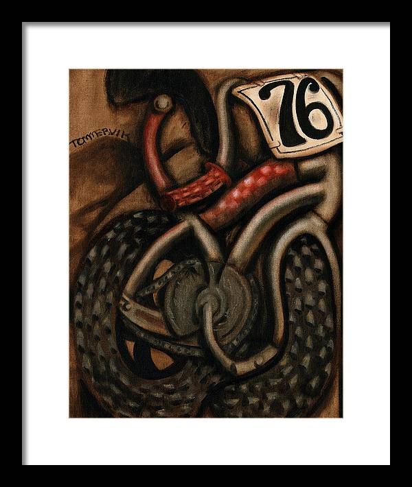 Bmx Framed Print featuring the painting BMX Racing Bike Art Print by Tommervik