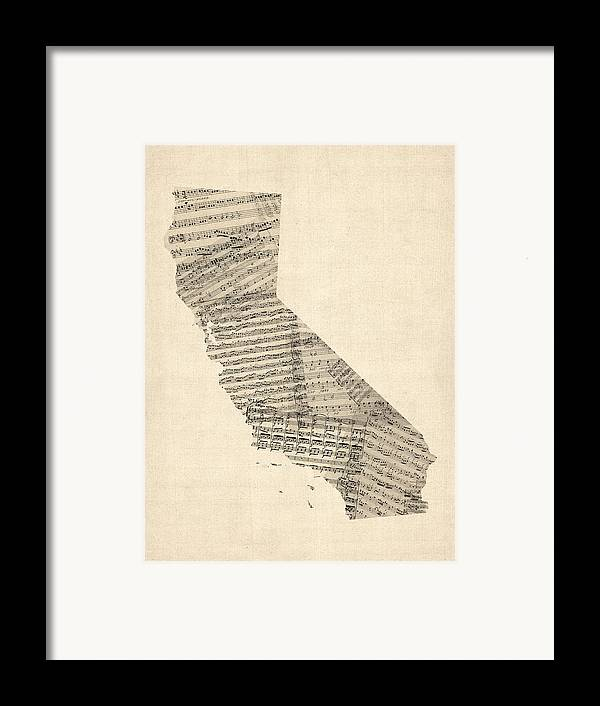 California Map Framed Print featuring the digital art Old Sheet Music Map Of California by Michael Tompsett
