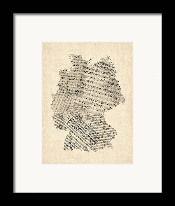 Germany Map Framed Print featuring the digital art Old Sheet Music Map Of Germany Map by Michael Tompsett