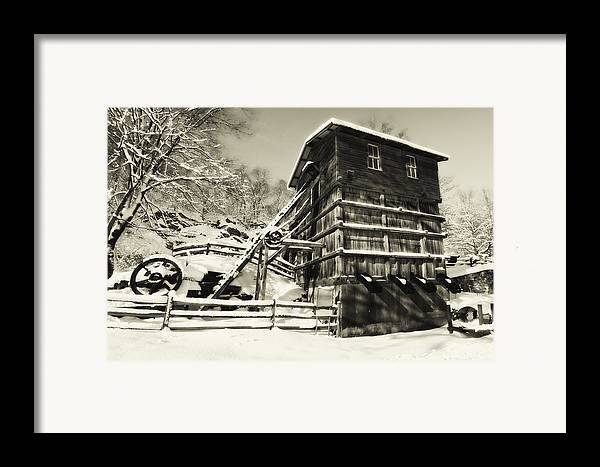 Scenic Framed Print featuring the photograph Old Snow Covered Quarry Mill by George Oze