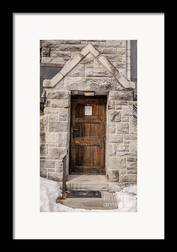 House Framed Print featuring the photograph Old Stone Church Door by Edward Fielding
