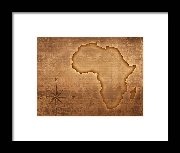 Framed Map Of Africa Old style Africa map Framed Print by Johan Swanepoel