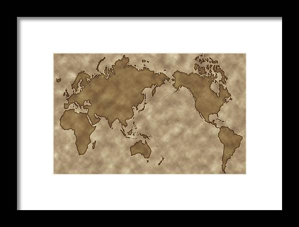 Old-style Map World Map Framed Print by Gyro