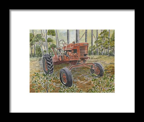 Old Framed Print featuring the painting Old Tractor Vintage Art by Derek Mccrea