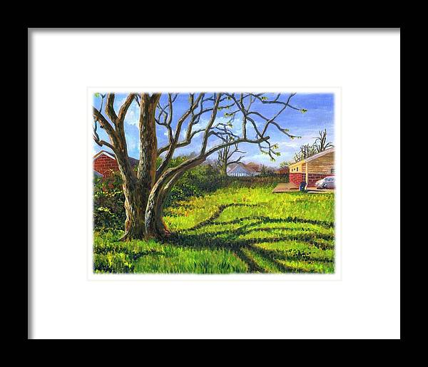 Plein Air Framed Print featuring the painting Old Tree In The Morning Of Early Spring by Ping Yan