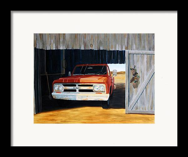 Trucks Framed Print featuring the painting Old Trucks And Decoys by Scott Alcorn