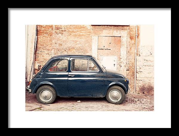 Car Framed Print featuring the photograph Old vintage fiat 500 car in Rome Italy by Matteo Colombo
