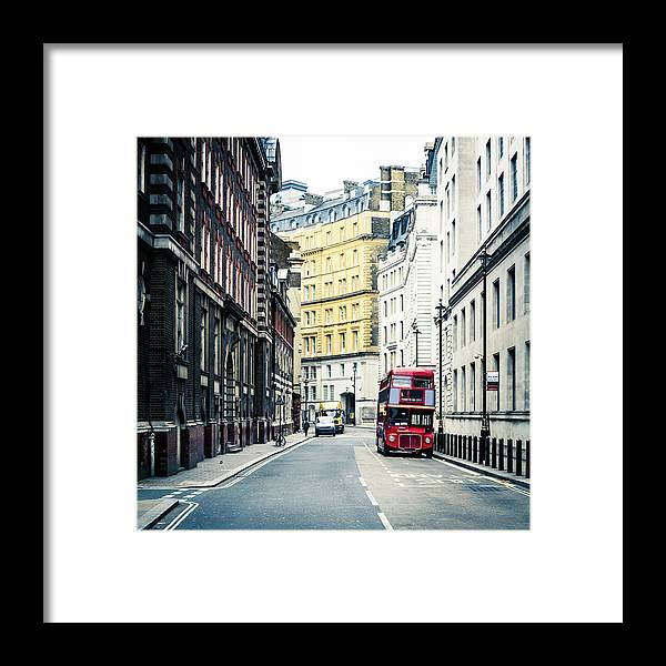 Downtown District Framed Print featuring the photograph Old Vintage Red Double Decker Bus In by Zodebala