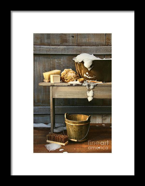 Antique Framed Print featuring the photograph Old Wash Tub With Soap And Scrub Brushes by Sandra Cunningham