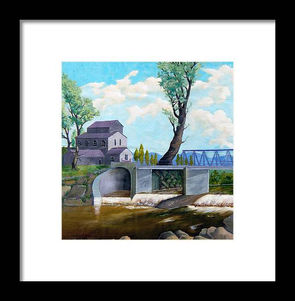 Old Framed Print featuring the painting Old Water Mill by Sergey Bezhinets