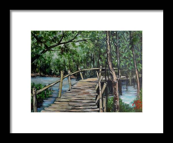 Oil Painting Framed Print featuring the painting Old Wood Bridge by Peter Paul Christian Mahilum