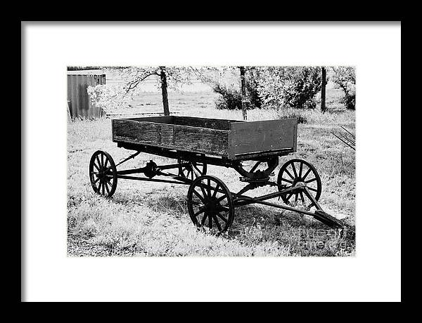 old wooden and metal farm wagon made from vehicle wheels and axle in  depression era leader Saskatche Framed Print