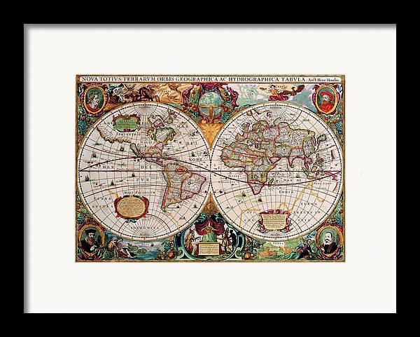 Map Framed Print featuring the digital art Old World Map by Csongor Licskai