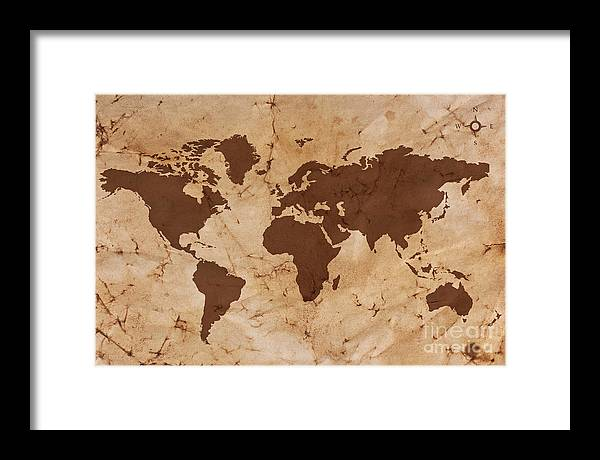 Old World Map On Creased And Stained Parchment Paper Framed Print By
