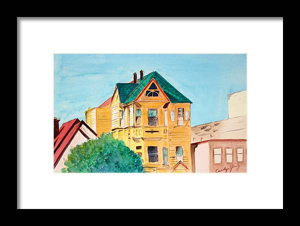 House Painting Framed Print featuring the painting Old Yellow House In Downtown Oakland by Asha Carolyn Young