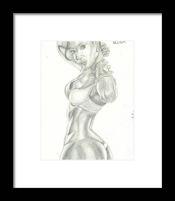 Framed Print featuring the drawing Olivia by Norman Sparrow