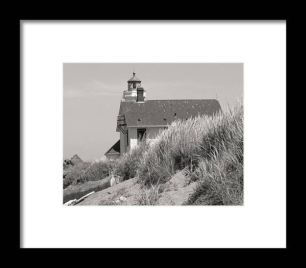 Black & White Framed Print featuring the photograph Olympic Light House No 1 by Mel Felix
