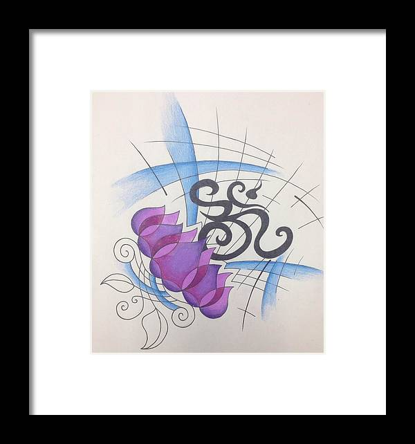 Om Framed Print featuring the drawing Om by Noah Babcock