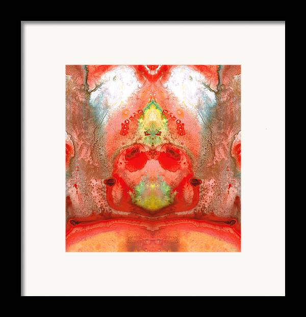 Enlightened Framed Print featuring the painting Om - Red Meditation - Abstract Art By Sharon Cummings by Sharon Cummings