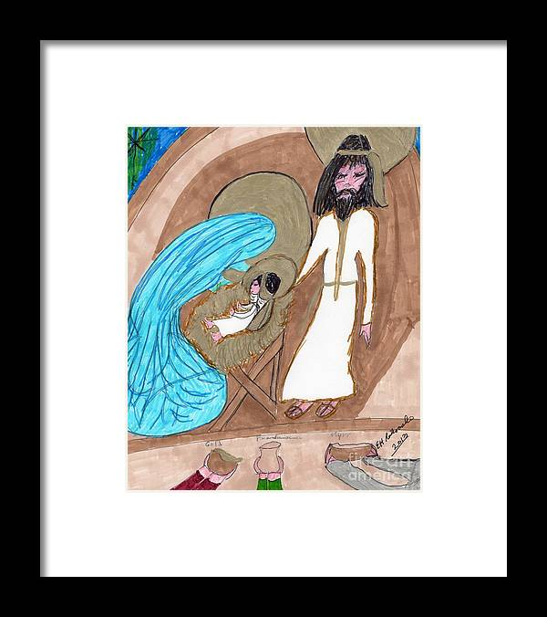 Manger And Gifts From 3 Wise Men Framed Print featuring the mixed media On A Cold Winters Night by Elinor Helen Rakowski